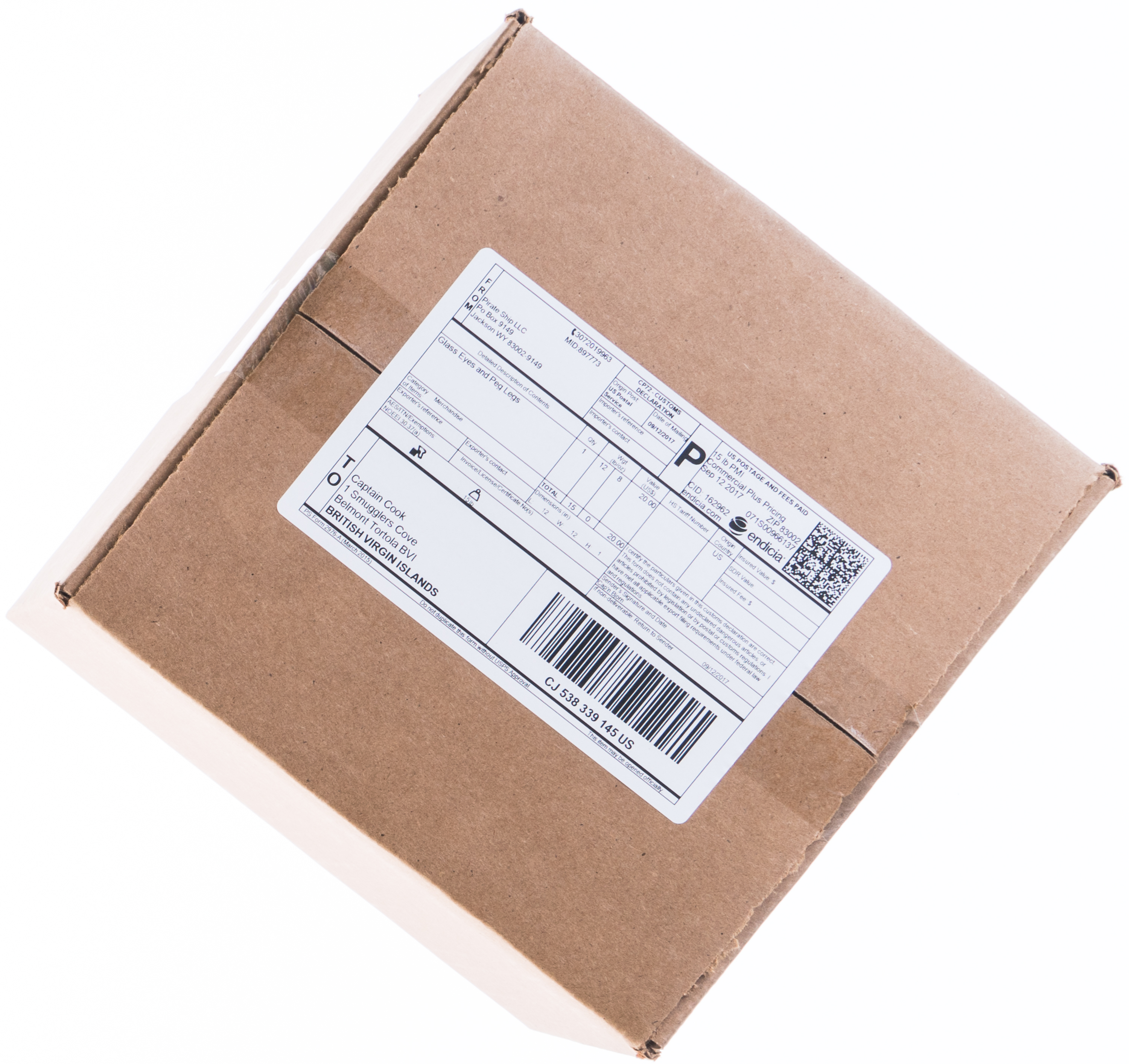 Shipping a box with USPS Priority Mail International