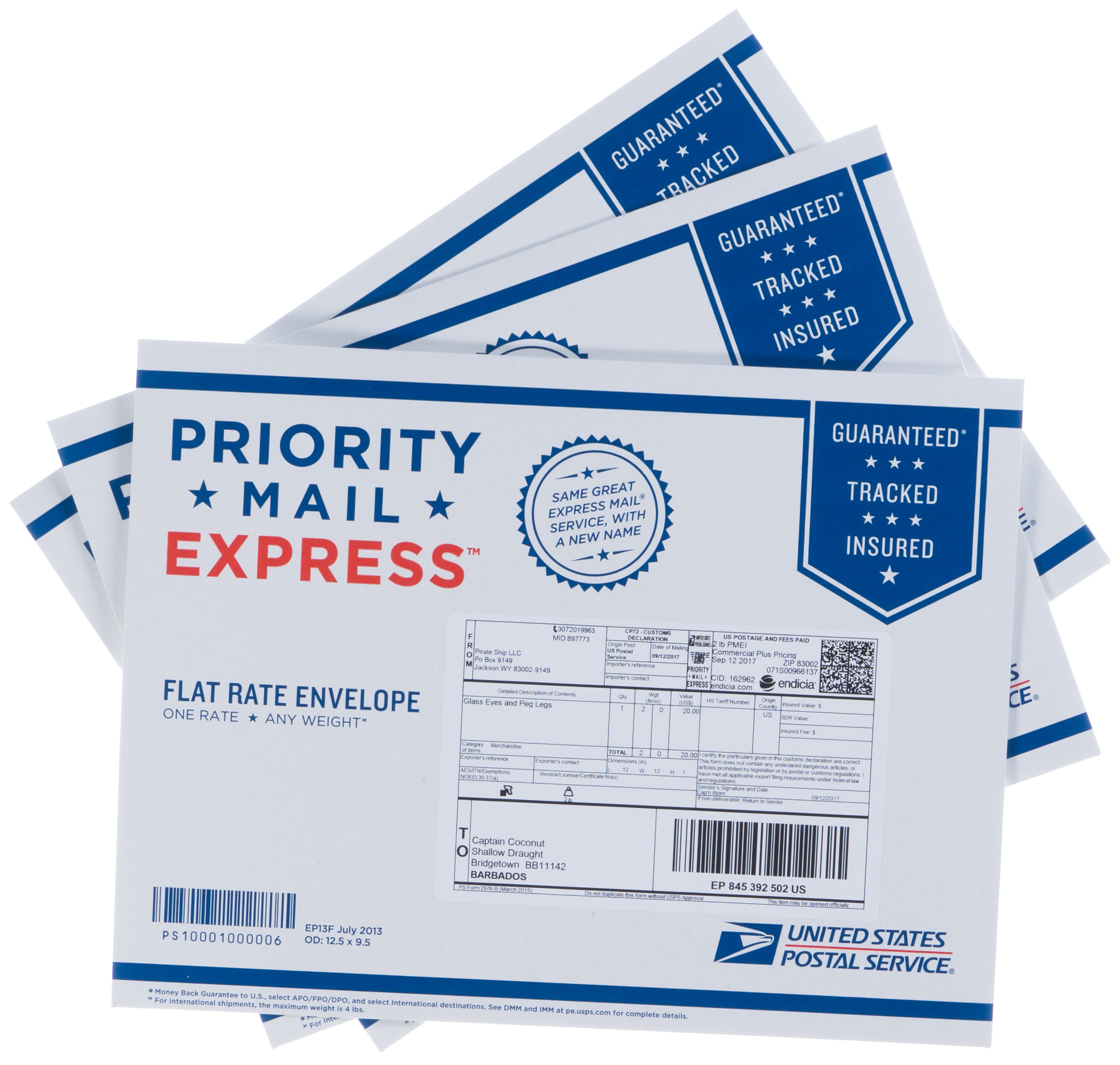 USPS offers free Priority Mail Express Flat Rate envelopes and boxes which bear the Priority Mail Express symbols, which you can order for free through the Buy Postage Online, Print USPS Stamps and Shipping Labels Store. You also can order free Priority Mail Express stickers, which you can place on your own packaging.