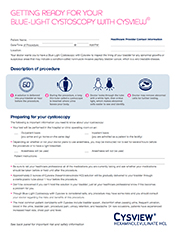 Blue Light Cystoscopy with Cysview® Patient Information Sheet Document Thumbnail