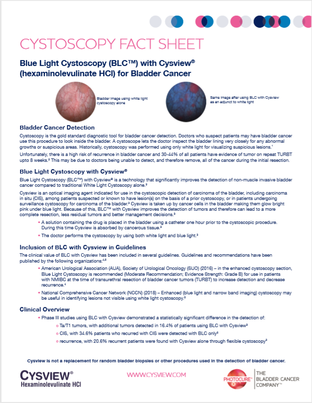 Facts About Blue Light Cystoscopy with Cysview® Document Thumbnail