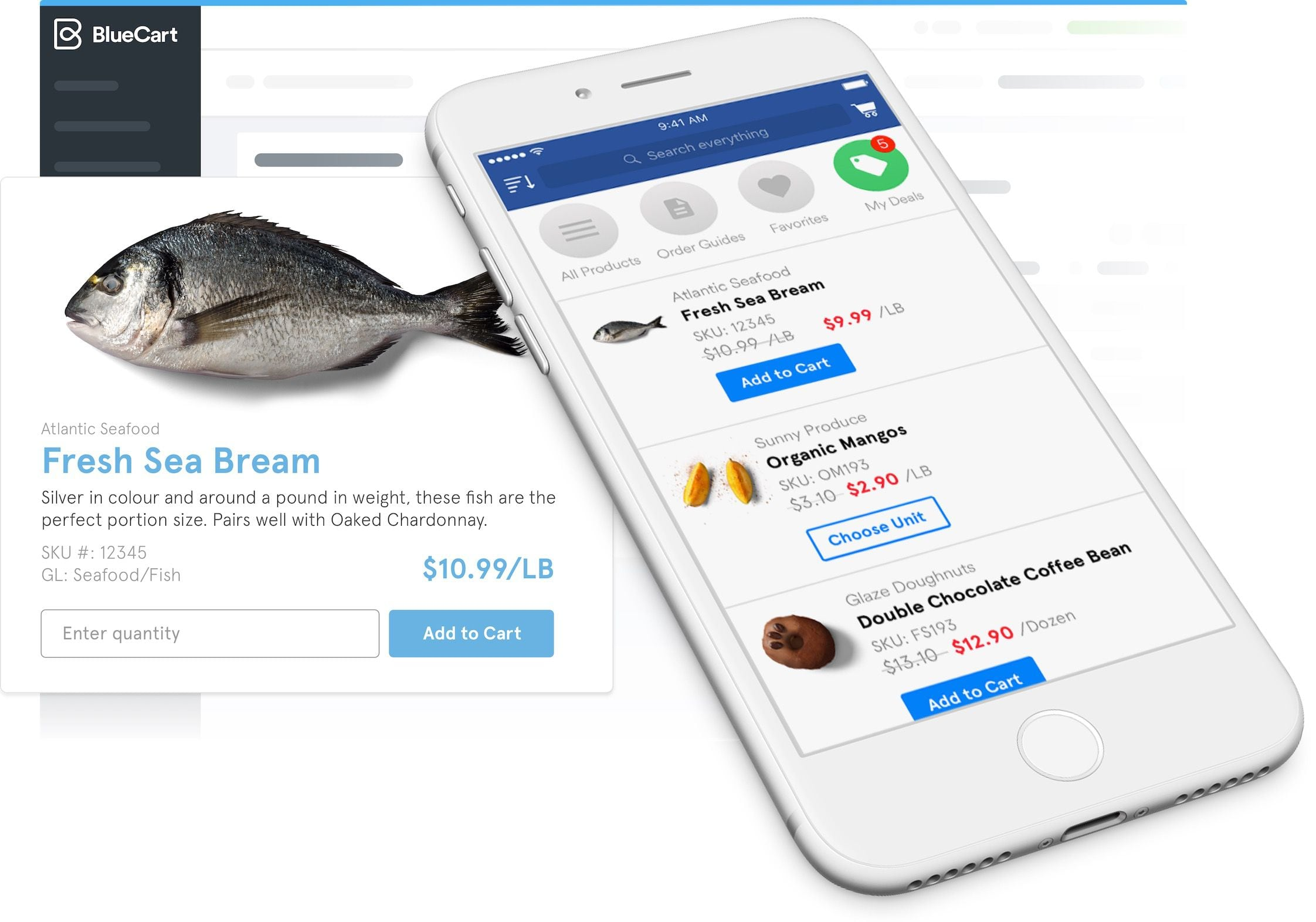 BlueCart ordering screens for iphone, android, and web
