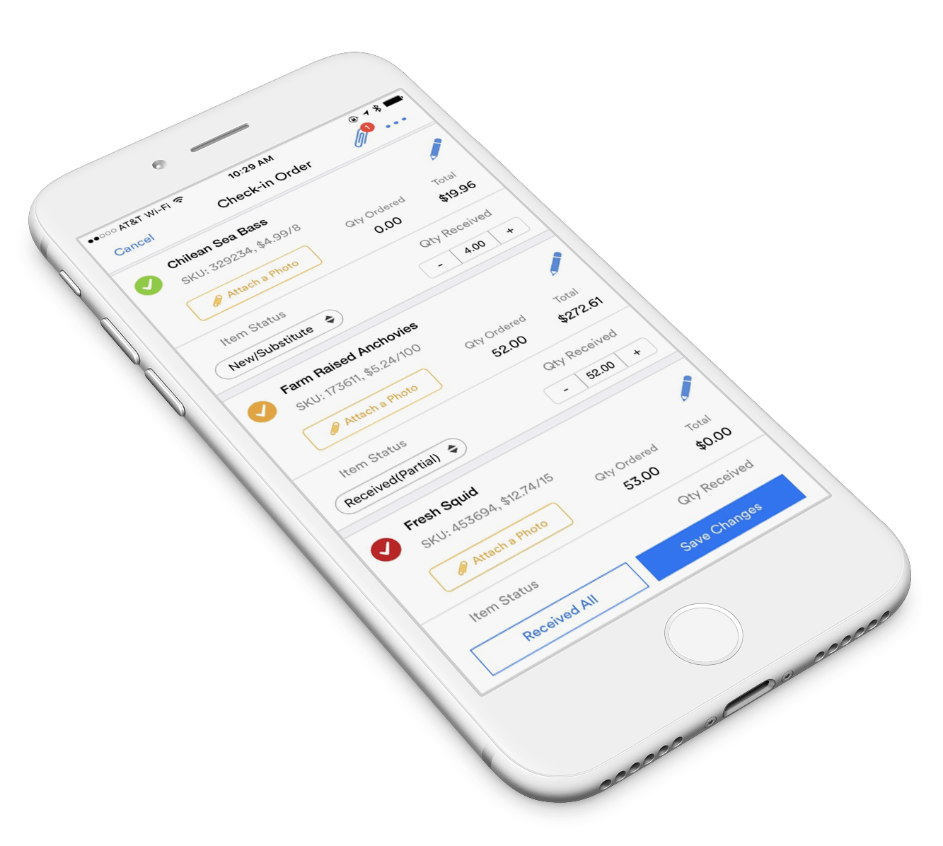 Order Check-In screen within the BlueCart mobile apps for restaurants
