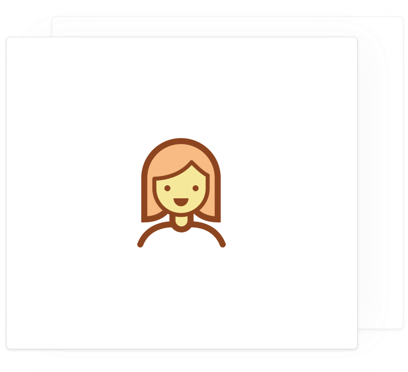Card with a female avatar icon