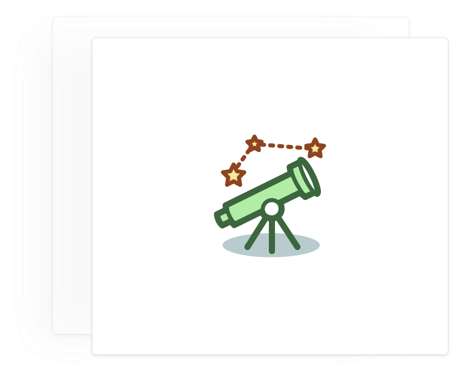 Card with a telescope icon