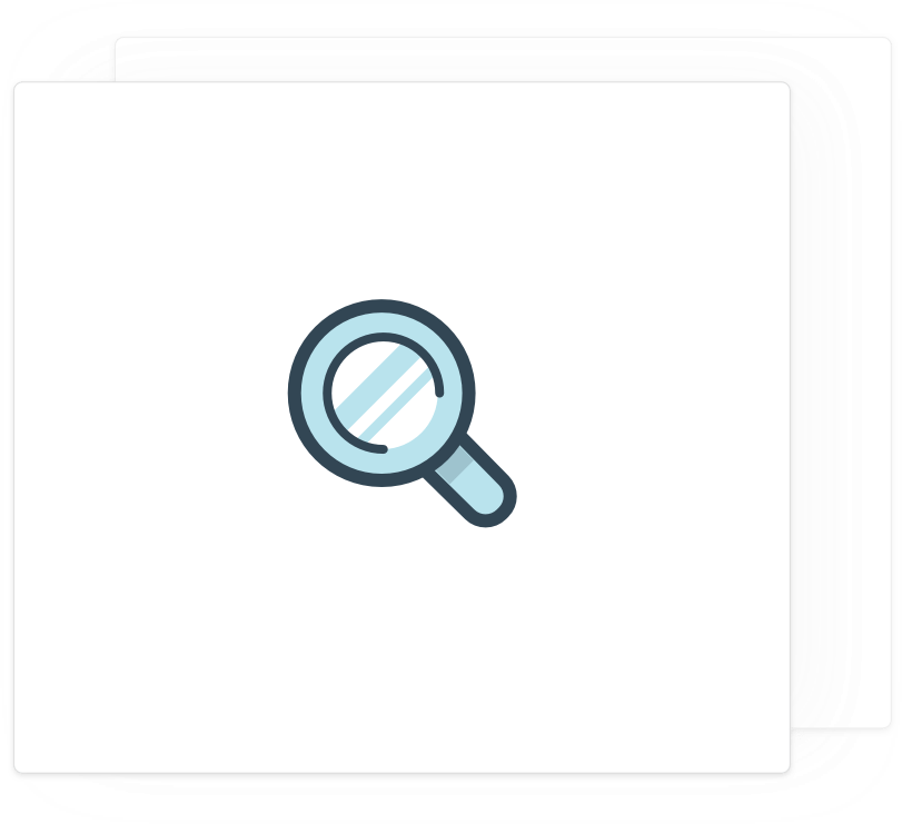 Card with a magnifying glass icon