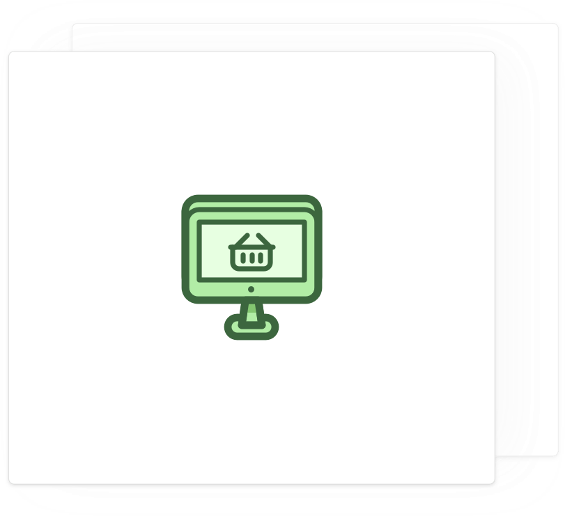Card with an icon of a computer with a shopping cart in the screen