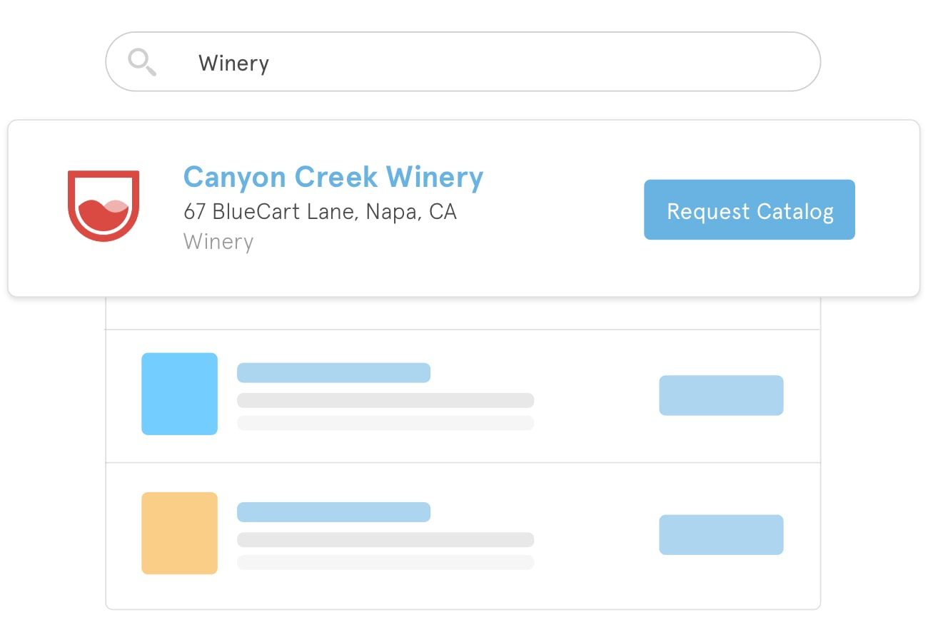 "A search field filled with ""Winery"" that is displaying a wine supplier named Canyon Creek Winery"