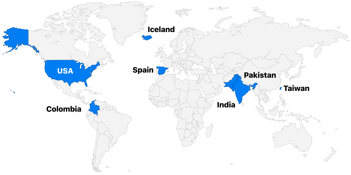 Map highlighting the countries BlueCart staff are from