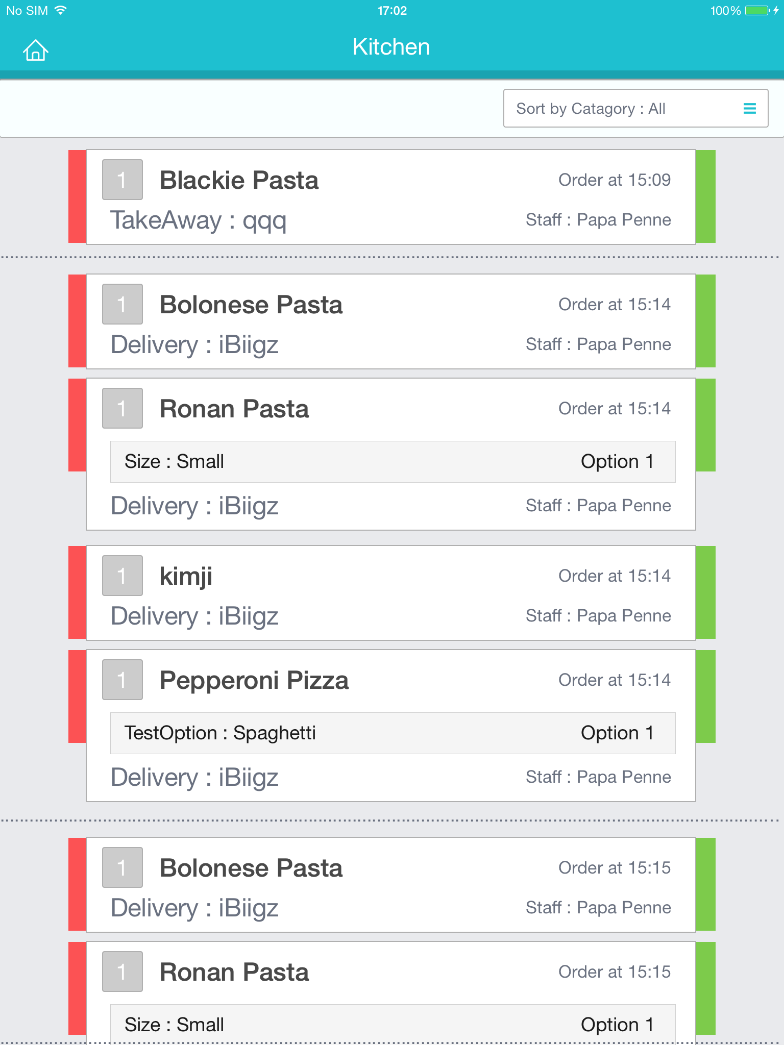 iPad Kitchen - ออเดอร์อาหาร