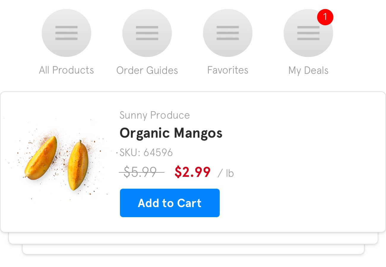 A preview of how a sale on organic mangos might appear within the BlueCart platform for buyers.