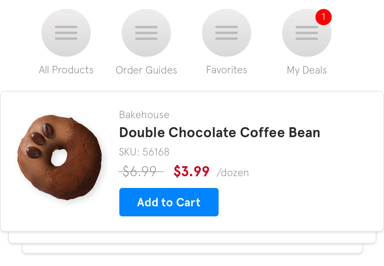 A preview of how a sale on double chocolate coffee bean donuts might appear within the BlueCart platform for buyers.