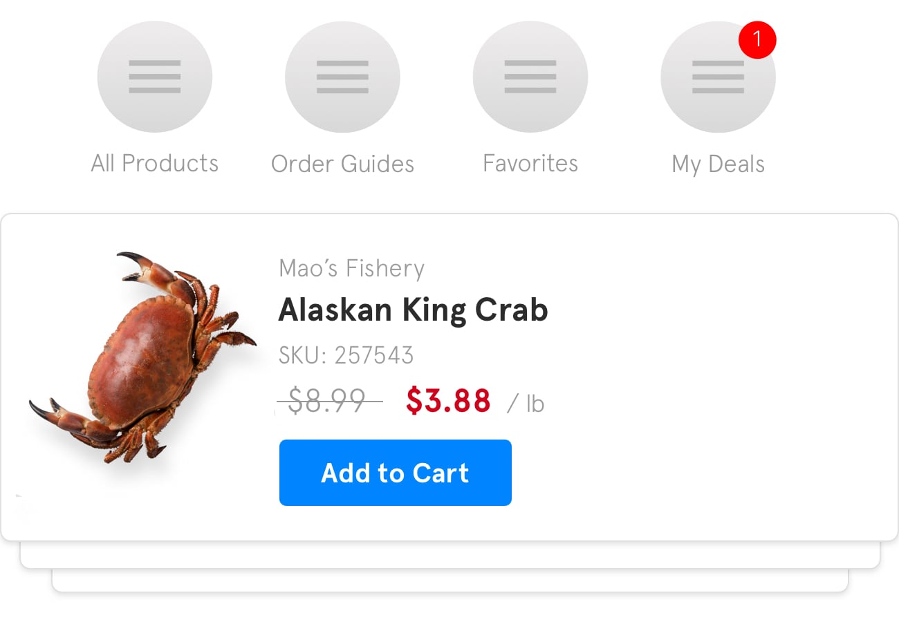 A preview of how a sale on alaskan king crabs might appear within the BlueCart platform for buyers.