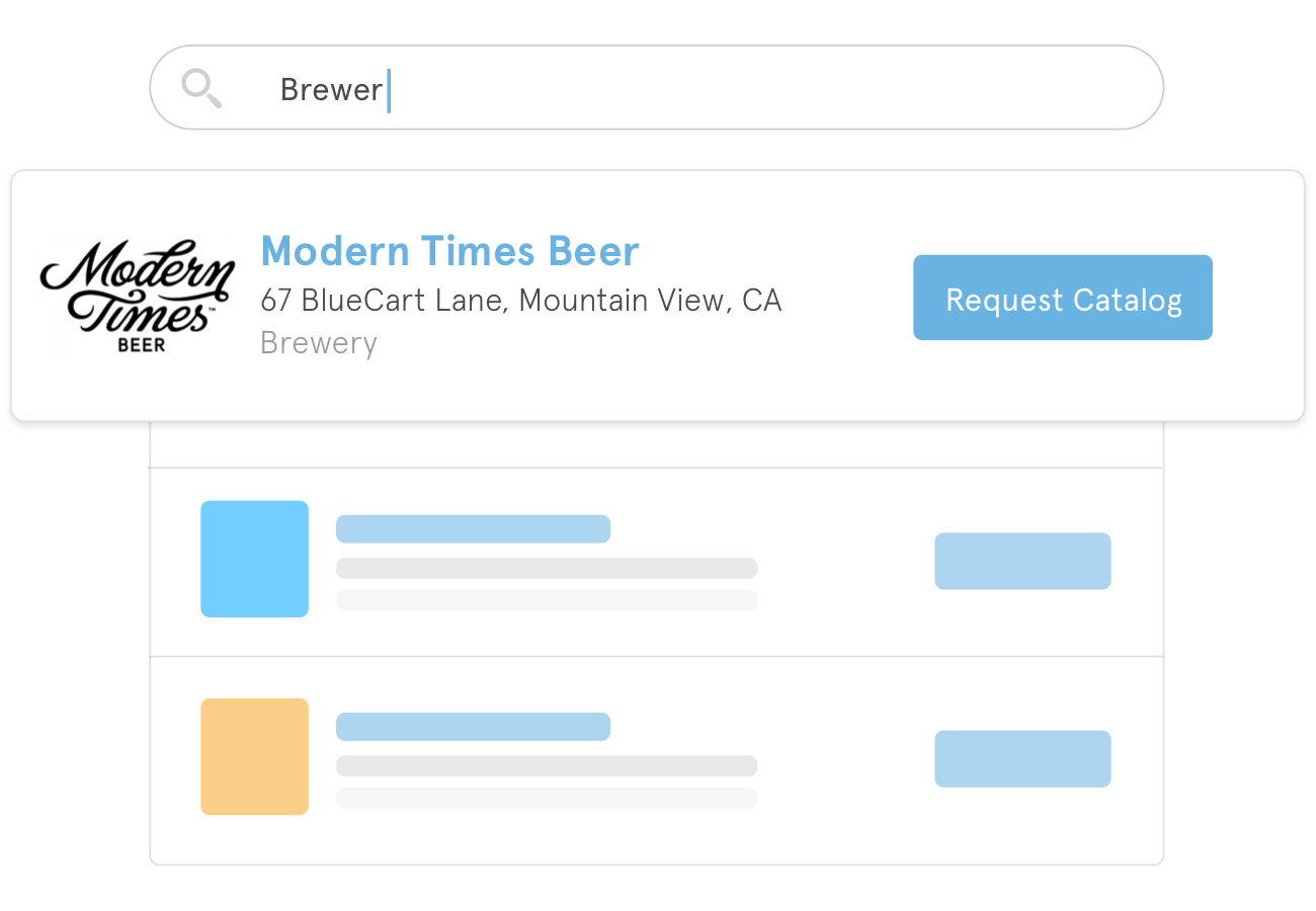 A preview of how search results for beer suppliers could appear within the BlueCart platform for buyers.