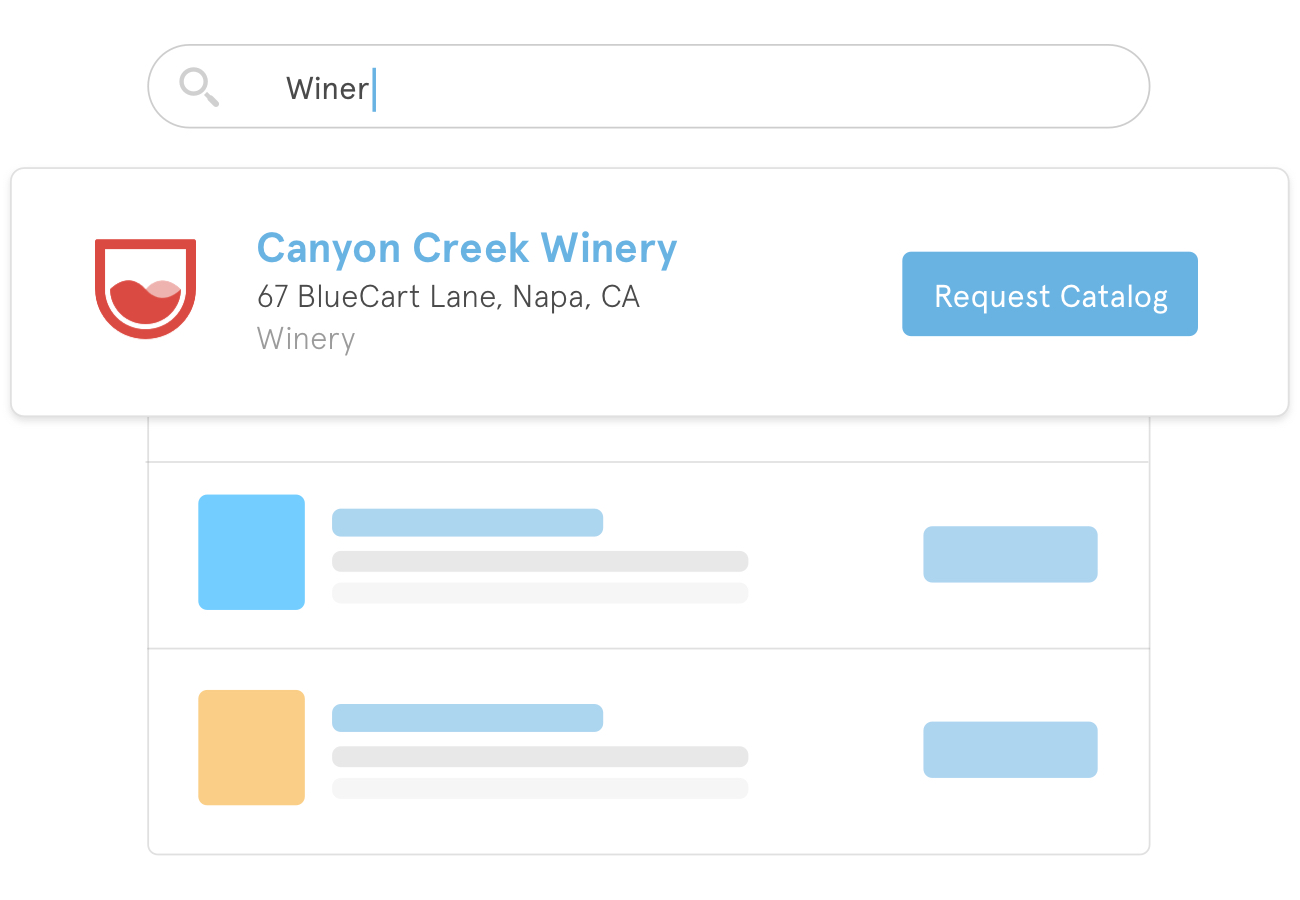A preview of how search results for wine suppliers could appear within the BlueCart platform for buyers.