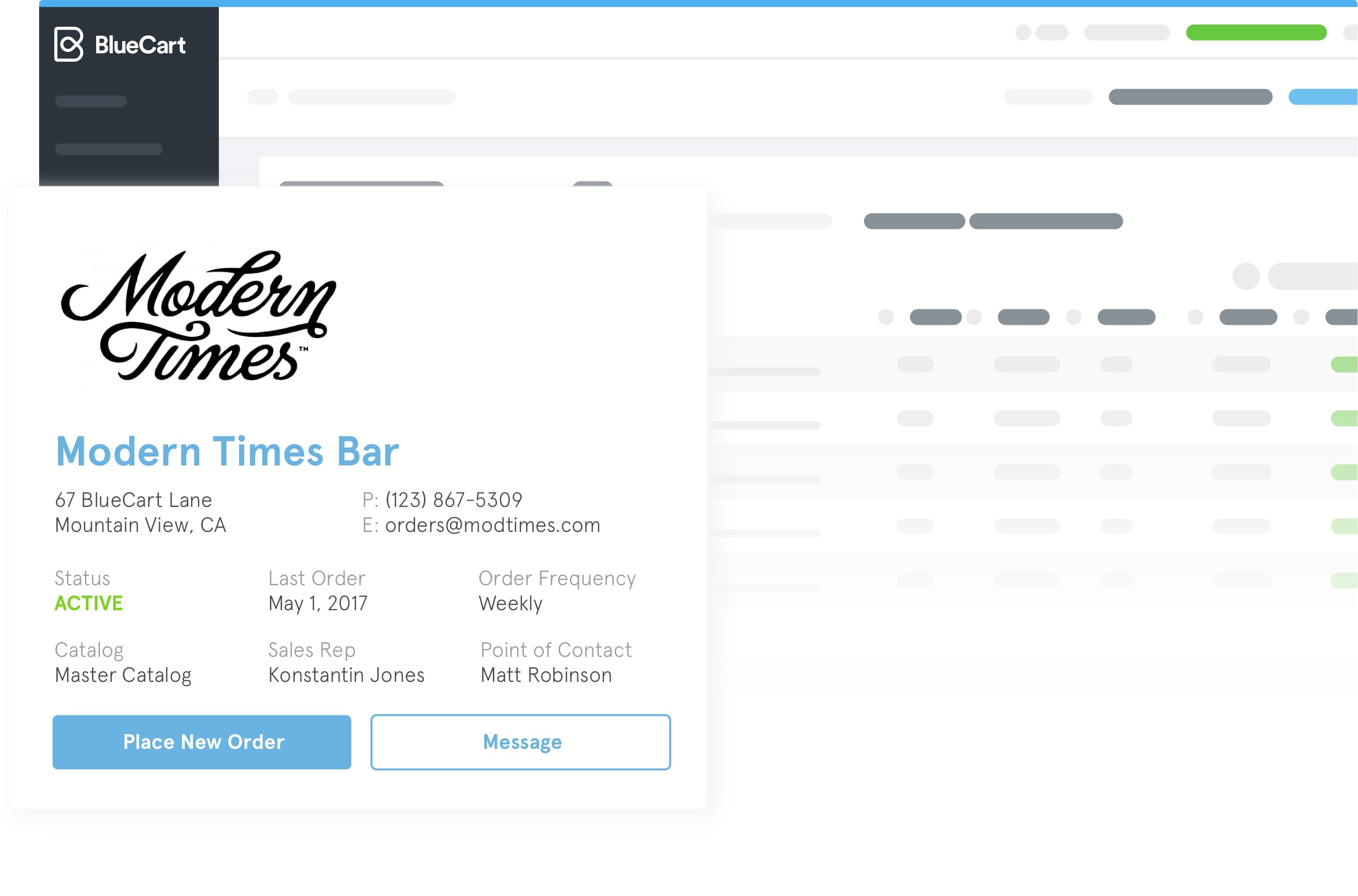 A preview of how a customer who owns a bar could appear within the BlueCart platform.