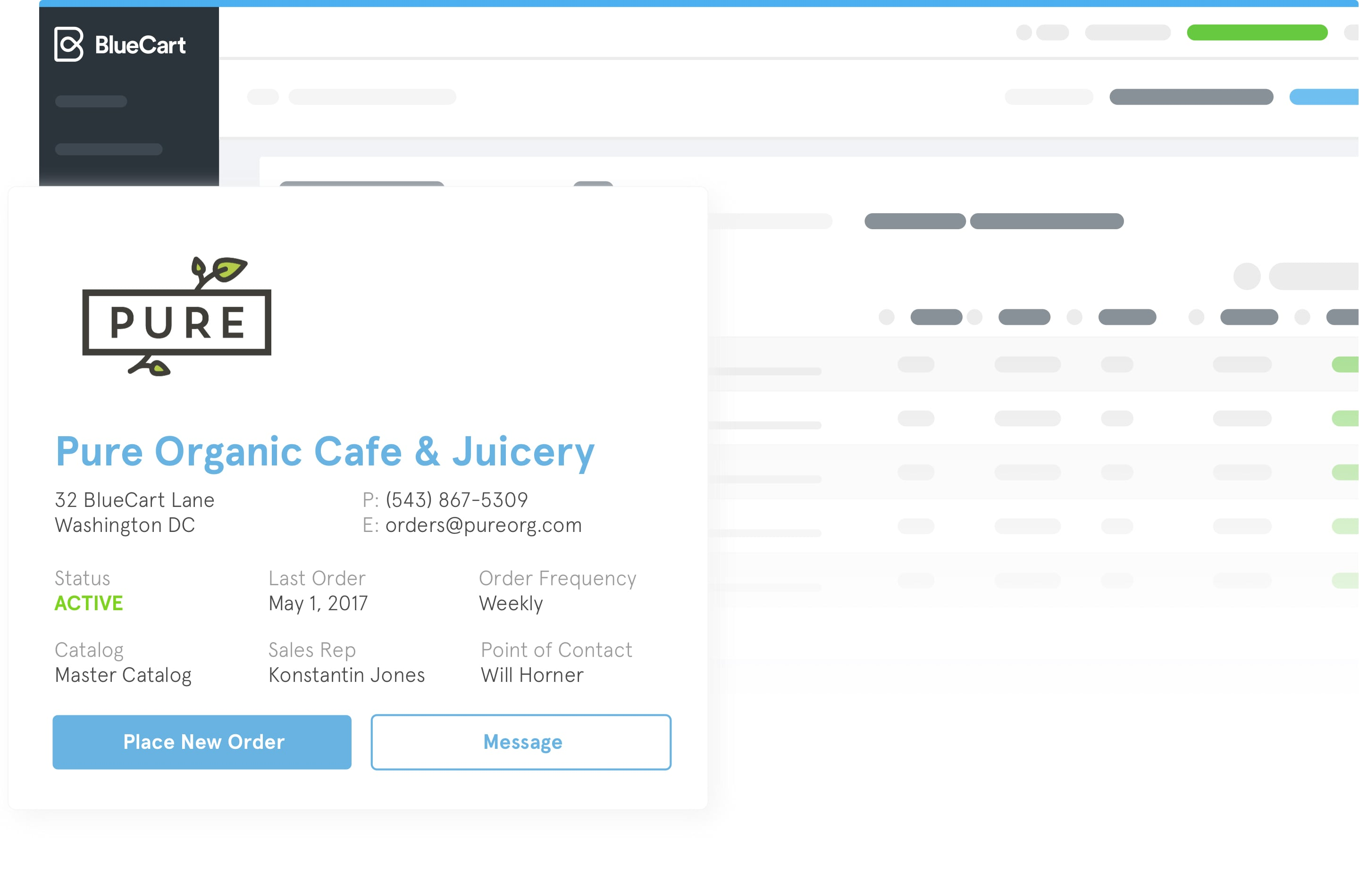 A preview of how a customer who owns an organic cafe could appear within the BlueCart platform.