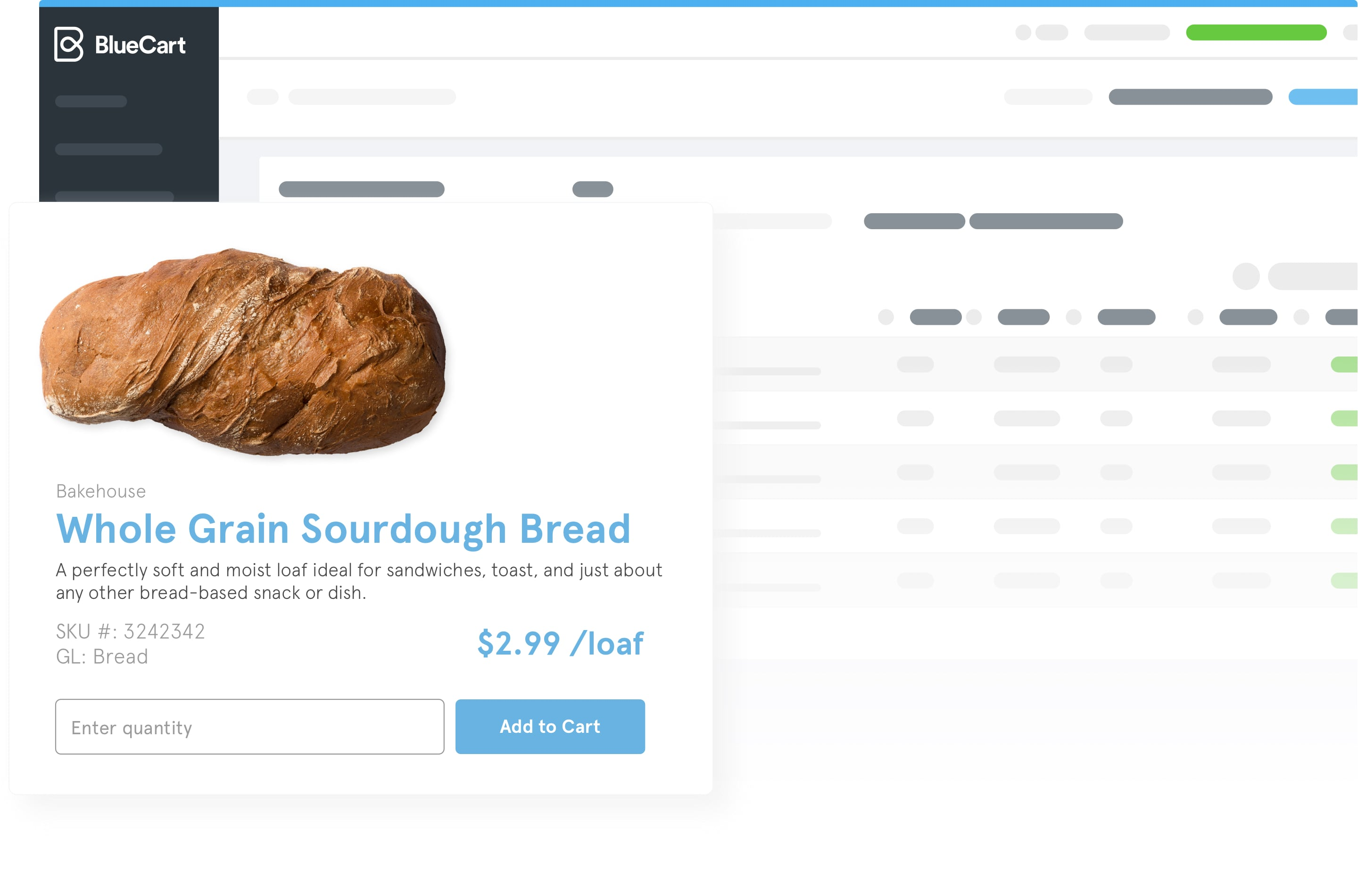 A preview of how bread might appear within the BlueCart platform.