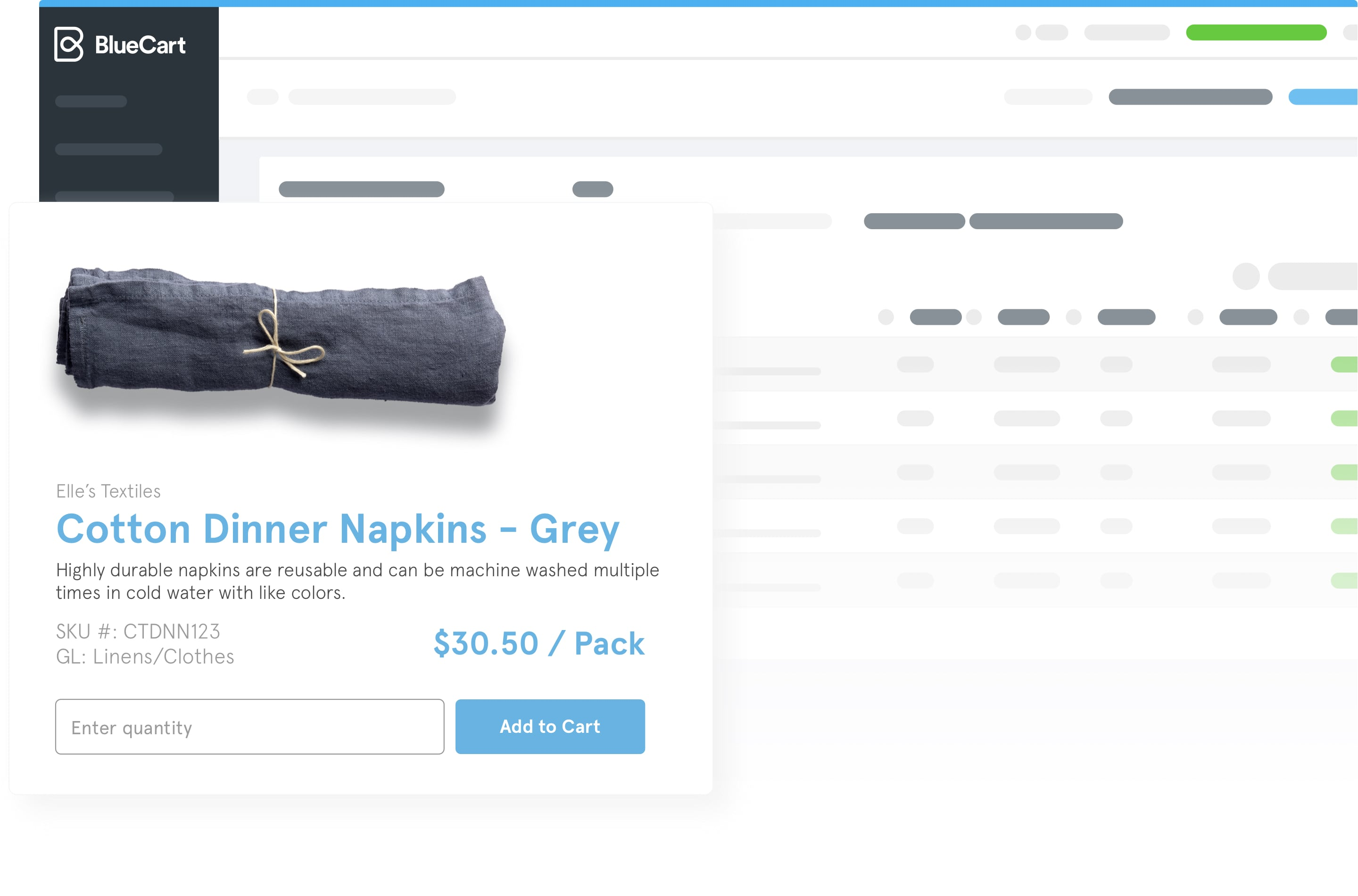 A preview of how a cloth napkin might appear within the BlueCart platform.