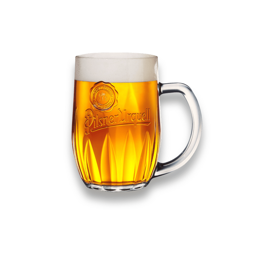 Glass cup filled with Pilsner Urquell Beer