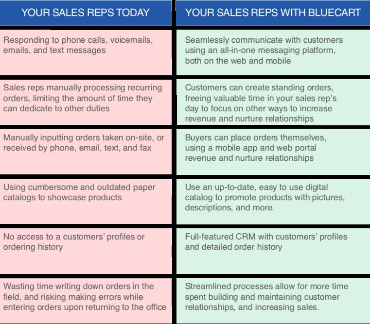BlueCart Sales Team Improvement Chart