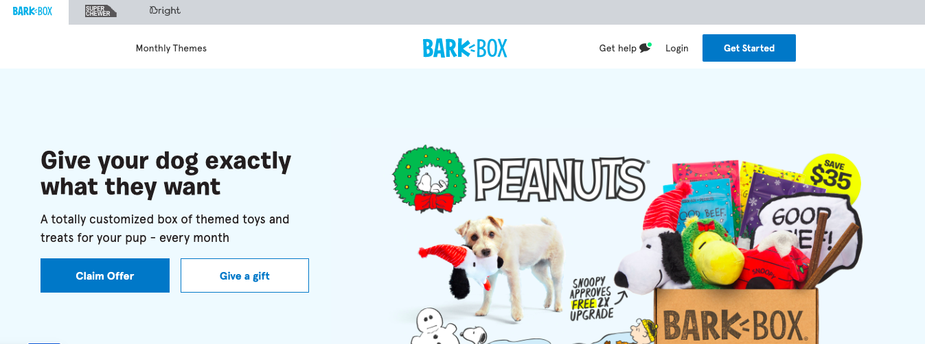 barkbox homepage
