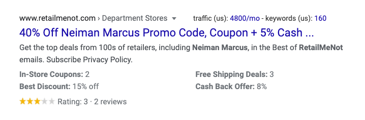 ecommerce seo rich result