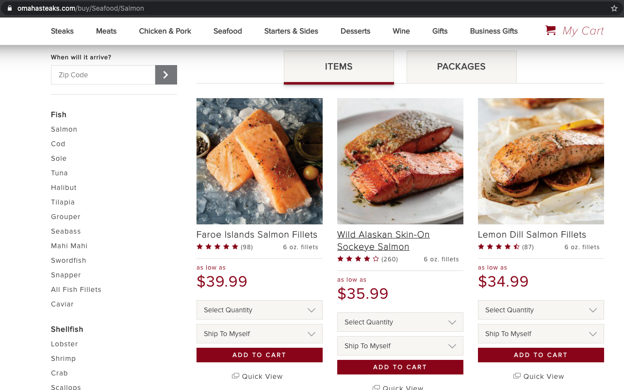 ecommerce subcategory page