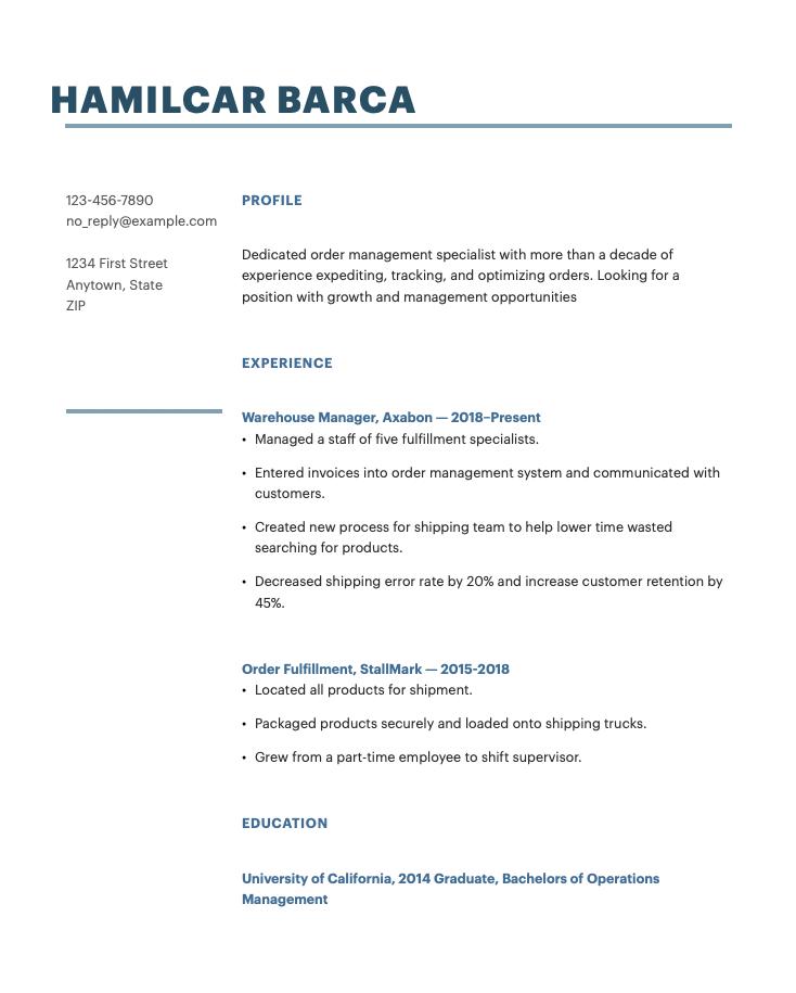 Order Management Specialist Resume Sample