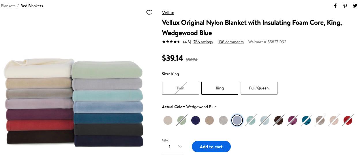 screenshot of blanket on walmart.com