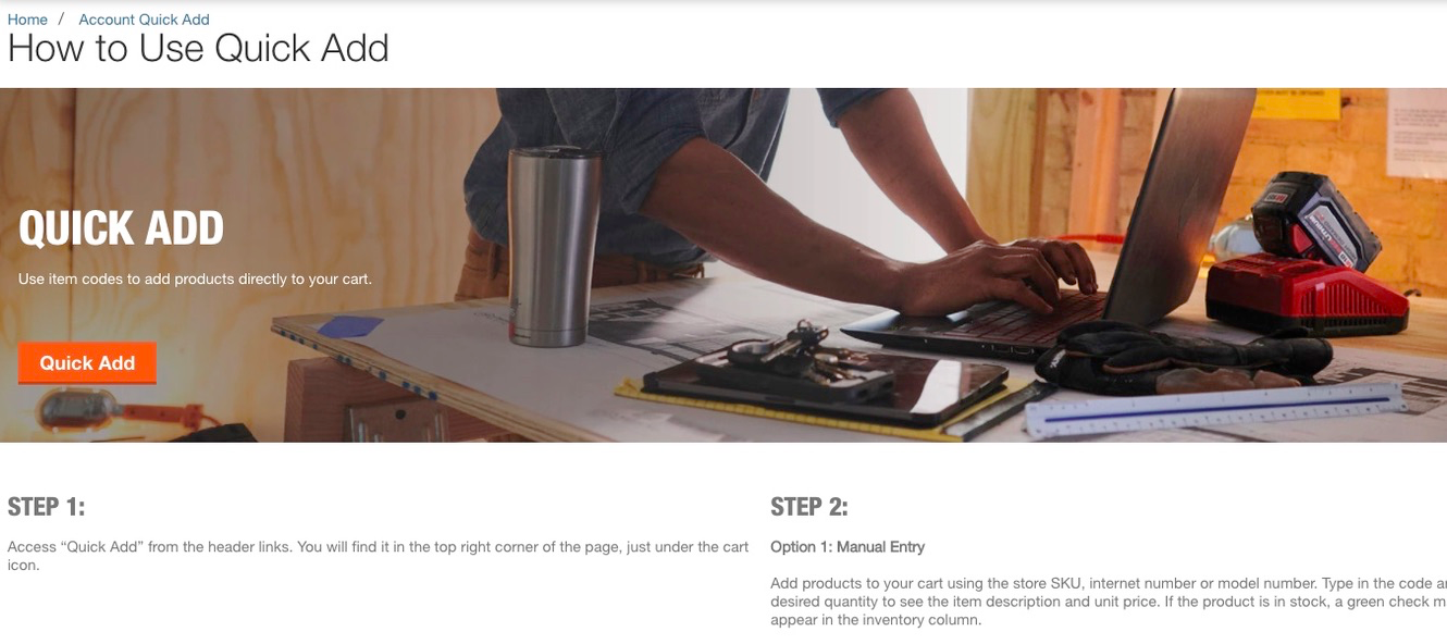 screenshot of Home Depot's quick add page