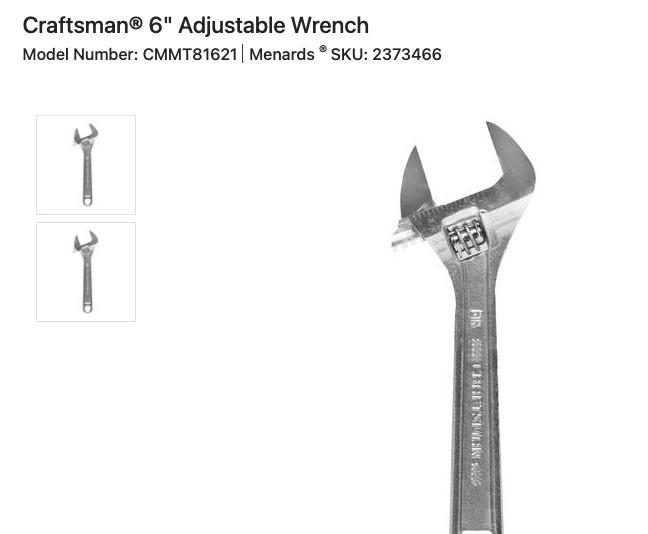 screenshot of adjustable wrench on Menards.com