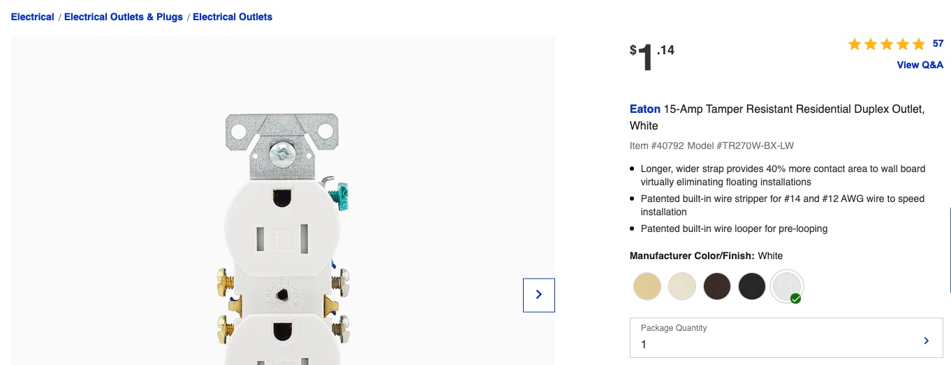 screenshot of electrical outlets on Lowes.com