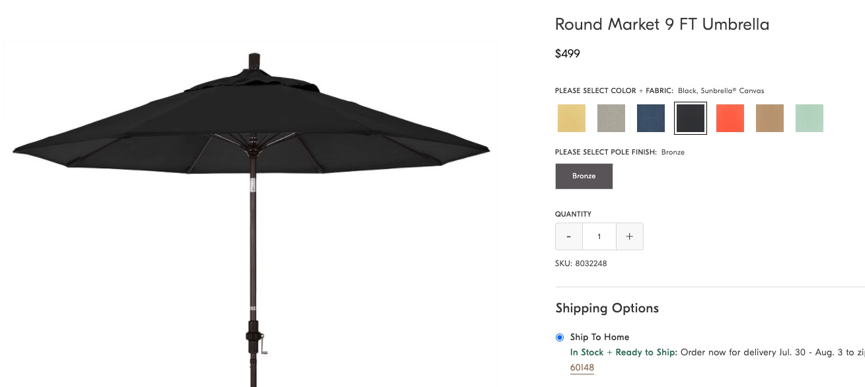 screenshot of patio umbrella on WestElm.com