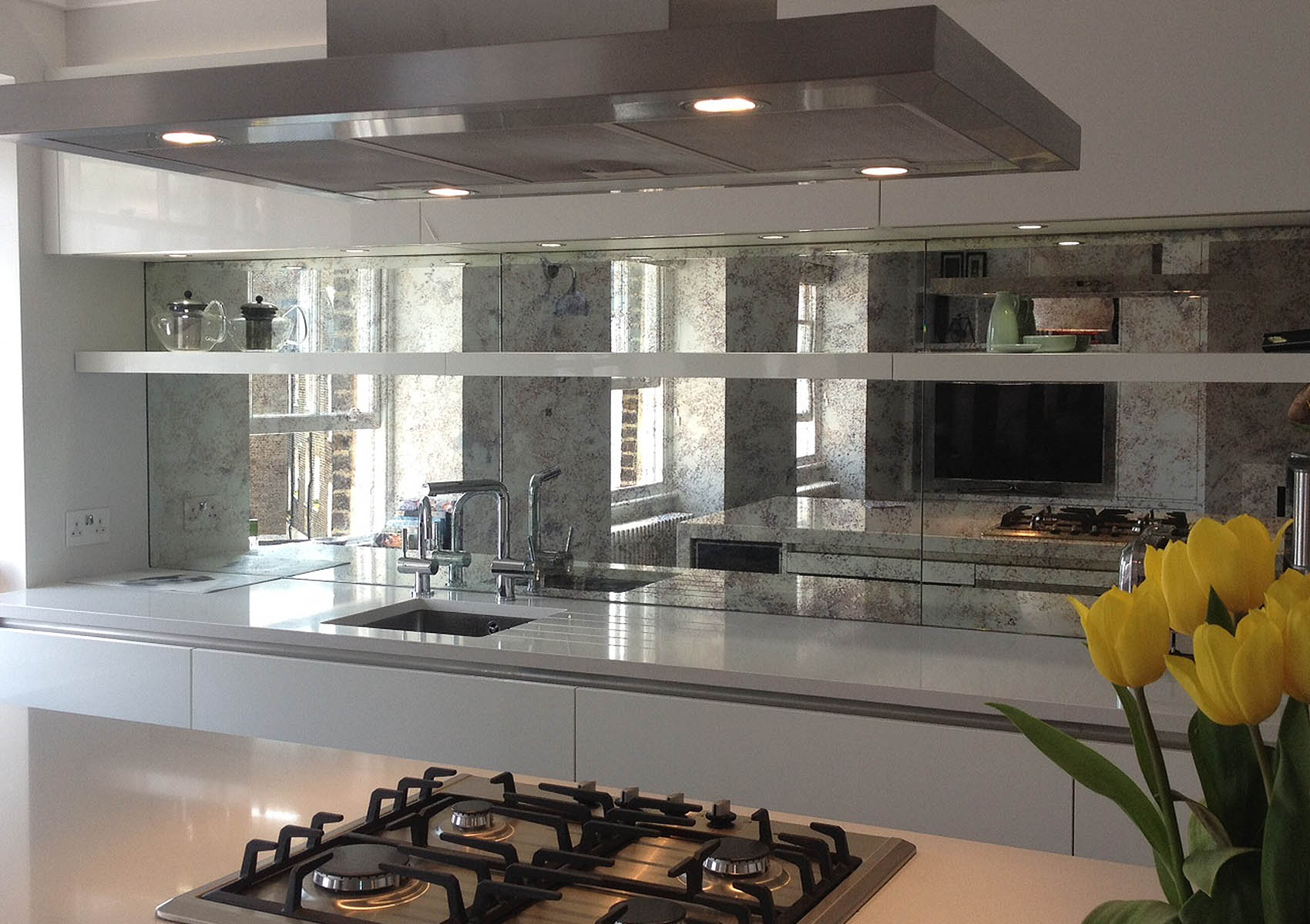 Kitchen Splashback in large equally sized panels
