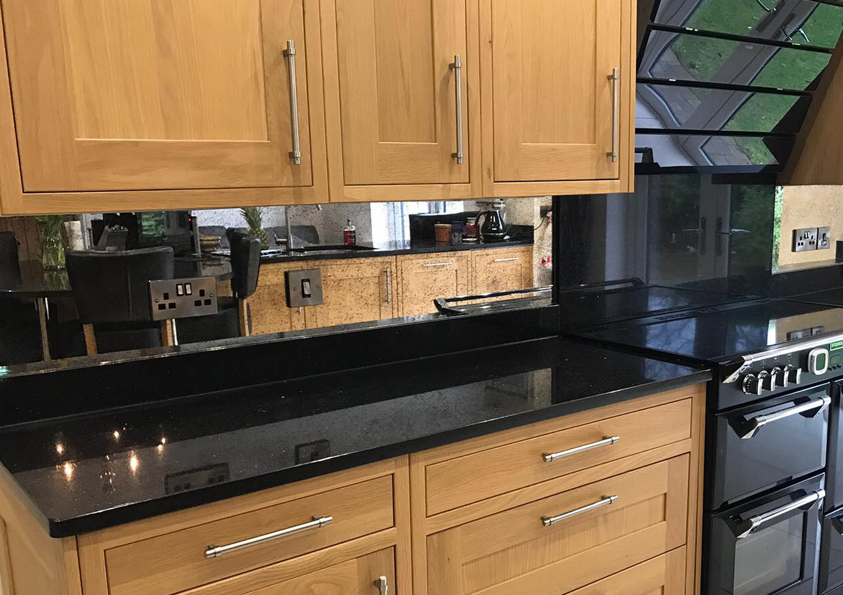 Kitchen Splashback in Mottled style antique mirror glass
