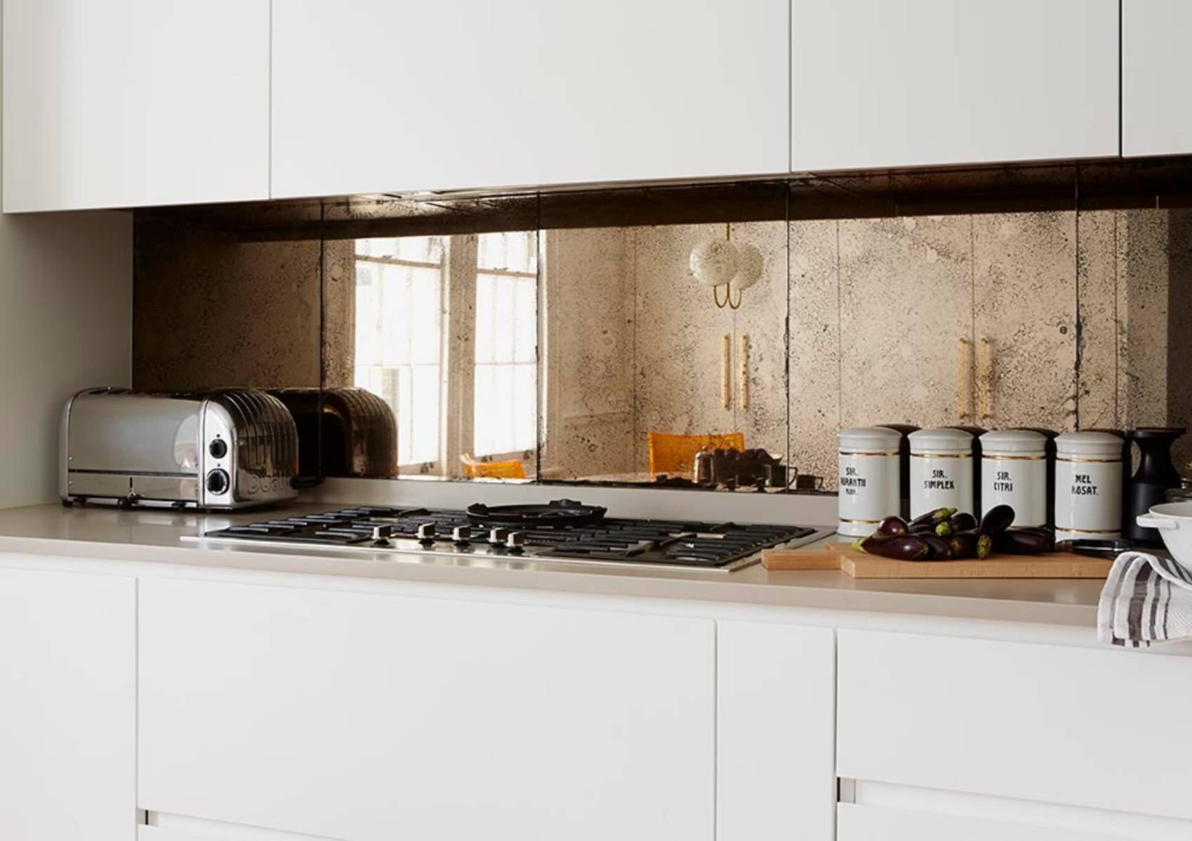 Bronze vintage kitchen splashback