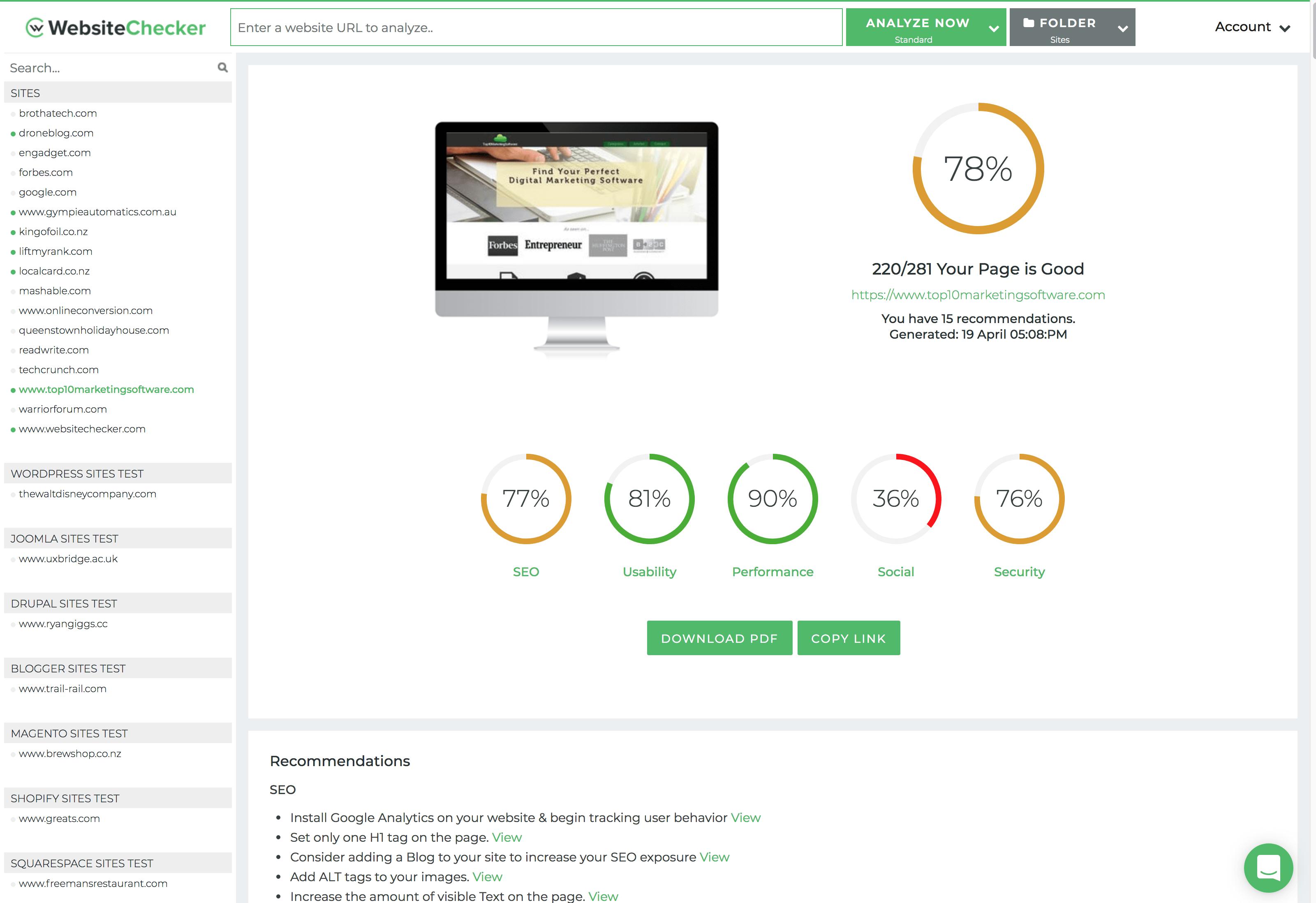 Website Analysis Reports