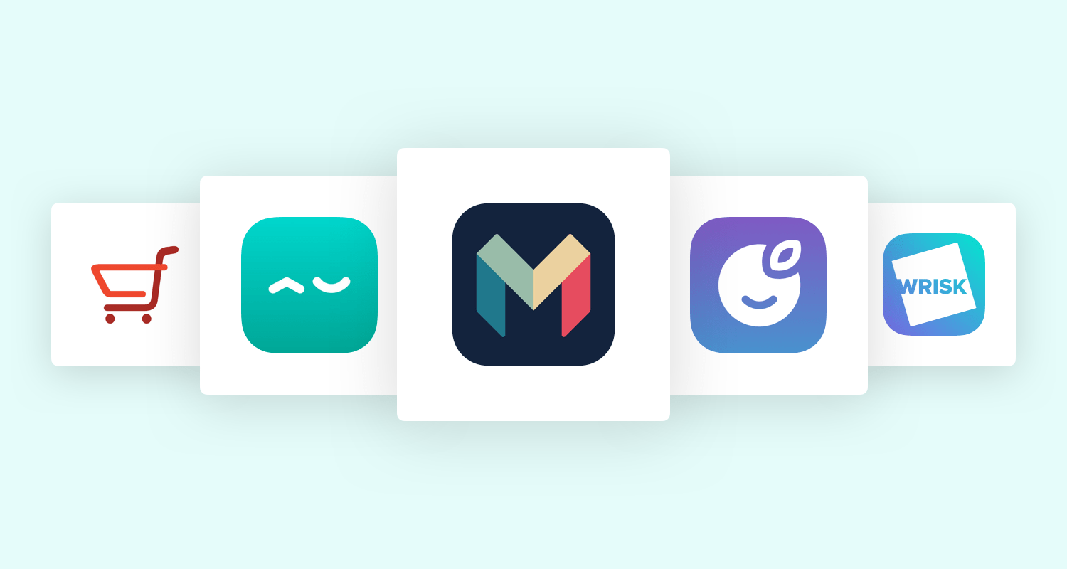 Logos for Wrisk, Plum, Acasa, Checkout Smart and Monzo