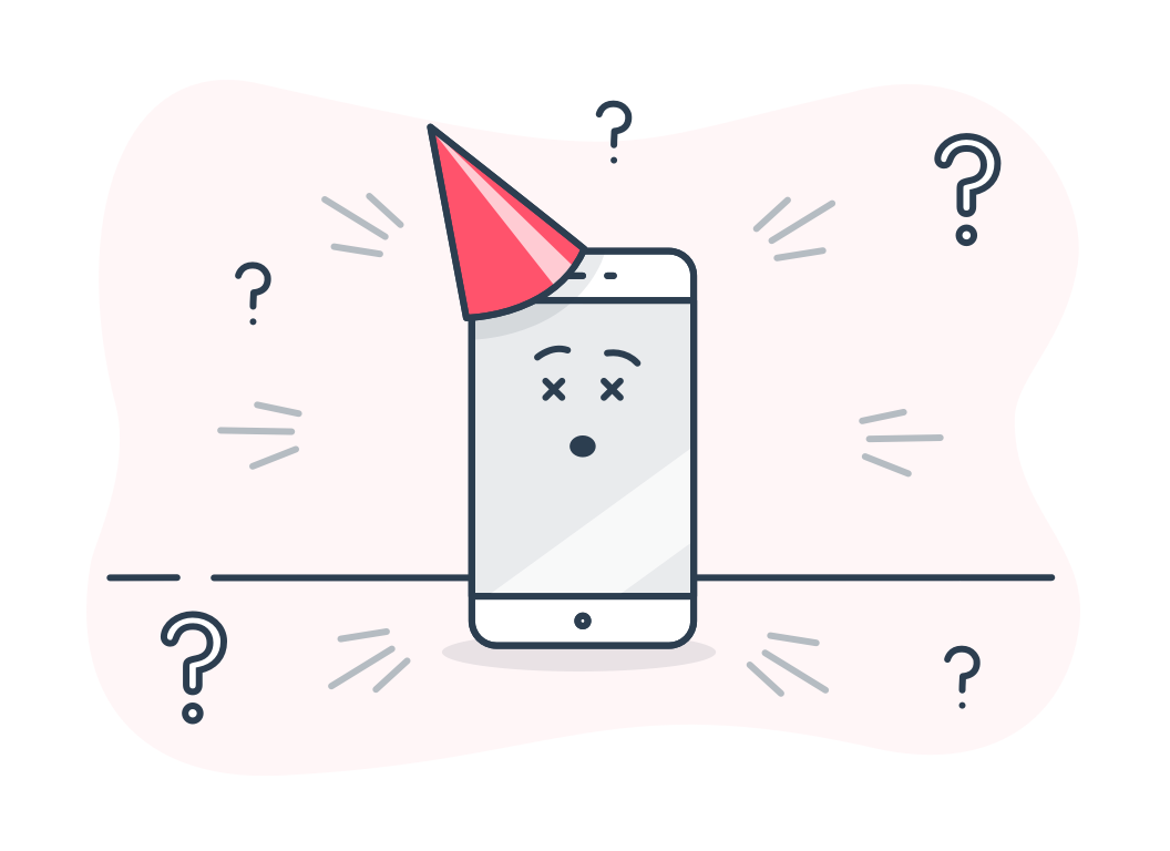 a cartoon of an iPhone looking confused