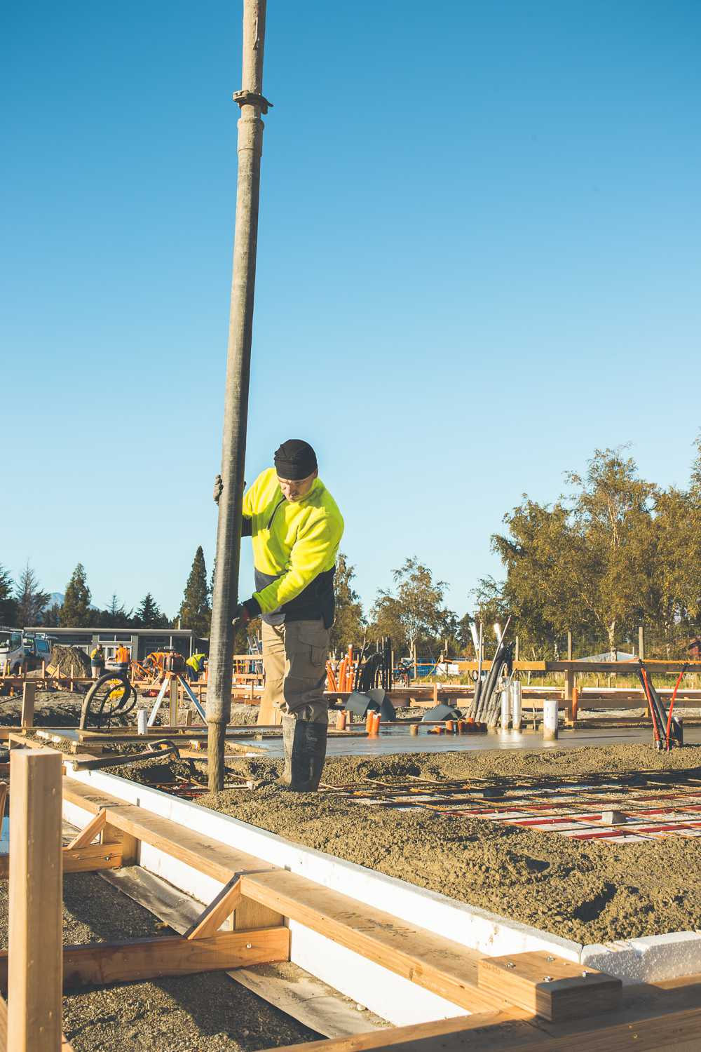 Concrete for Camp Glenorchy's slabs being poured