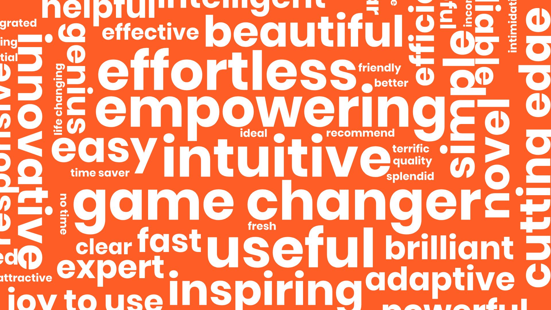 Example word cloud slide with business oriented terms on orange background