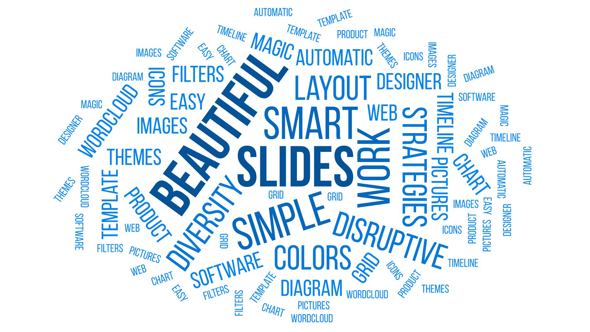 Word cloud example with positive words about slides and presentations
