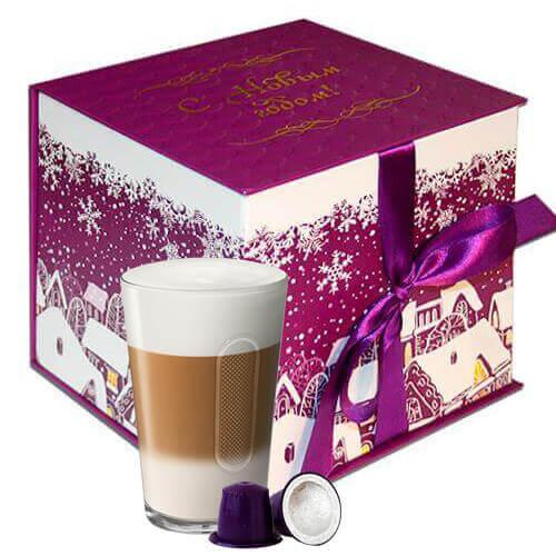 Новогодний набор 2017 фиолетовый из кофе-капсул для кофемашин Nespresso