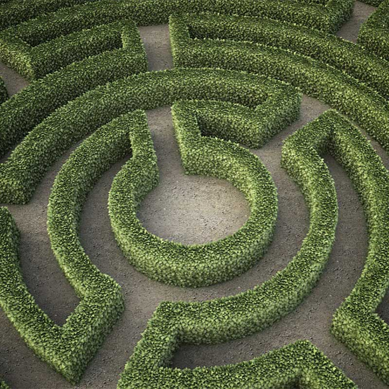center of a circular labyrinth or maze