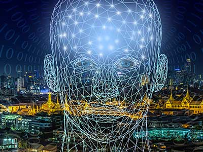 artificial intelligence head with a city in the background and binary code