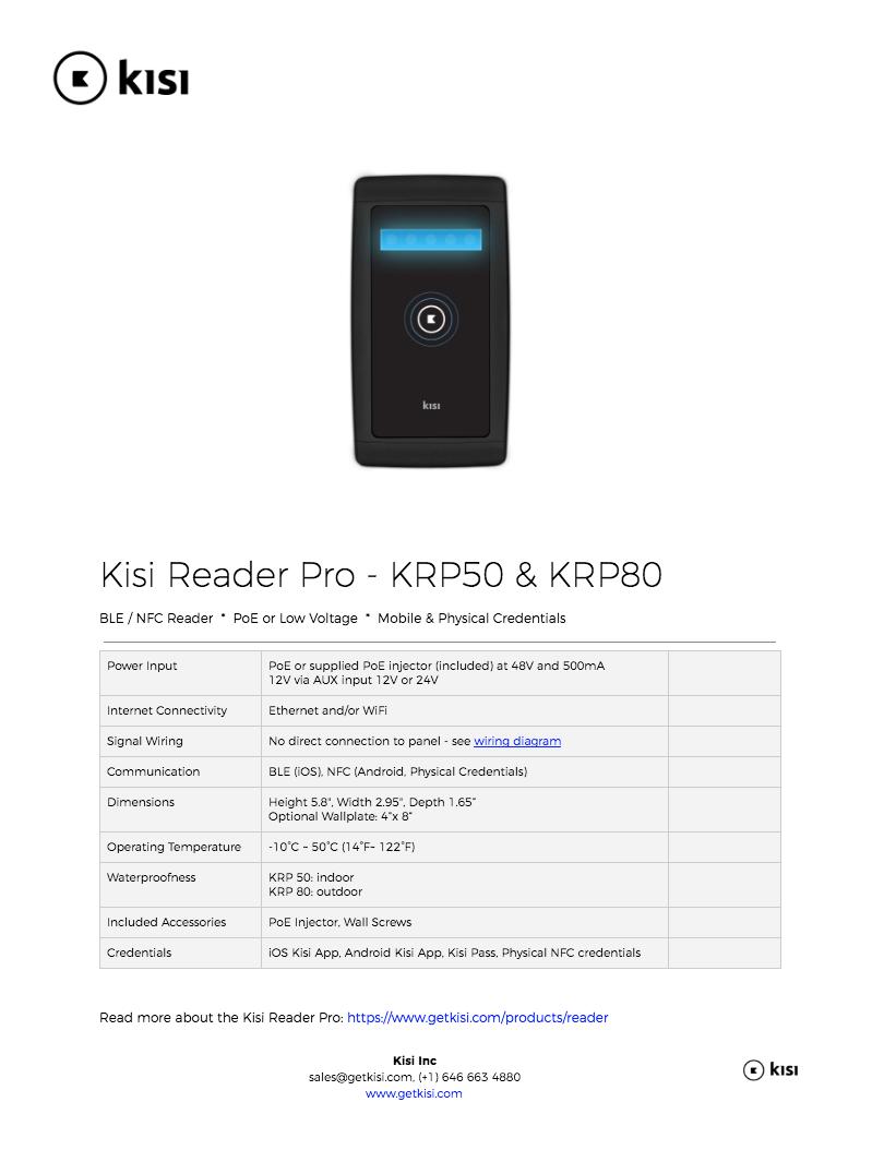 Kisi Reader Specs