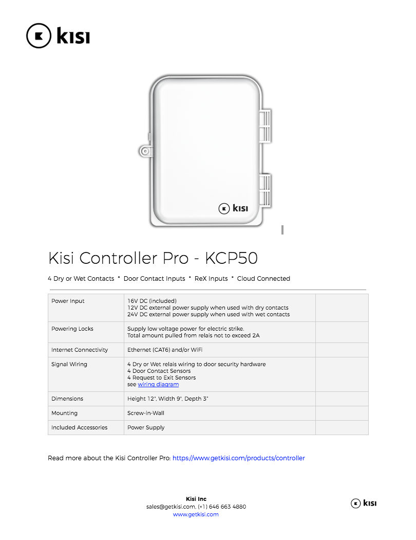 Kisi Specification Documents More Security Contacts Wiring Series Controller Specs