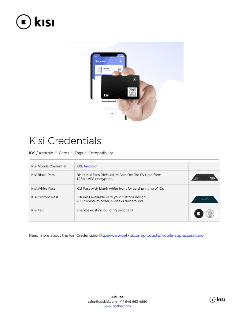 Kisi Credentials