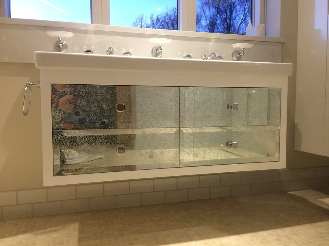 White Vintage toughened antiqued mirror glass with bevelling and holes  drilled for handles - Antique Mirror Cabinet Drawers - Saligo Design Project