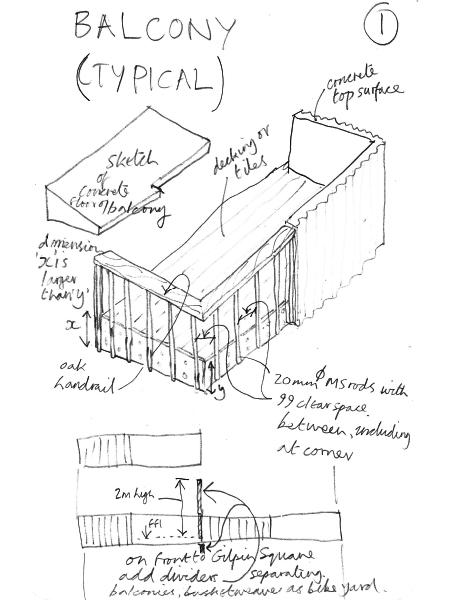 Pedro Street Ash Sakula early balcony sketch details